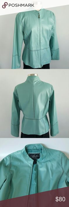 """Atelier by Thomas 100% Leather Jacket This beautiful jacket never been worn,  genuine leather very soft  in Turquoise color a little bit shiny reflections,  zip closure, fully lined, ready for spring.  Perfect for any outfit,  measurement are length 25"""" bust 40"""" waist 36"""" hips 40"""" Atelier by Thomas  Jackets & Coats Blazers"""