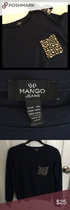 💎Bejeweled Pocket Pullover💎 Preppy edgy fun from Mango! Simple navy pullover with bejeweled topaz pocket. Size XXS, would also fit an XS for a more fitted look, purchased at local Mango store. 🚫TRADES🚫LOWBALLING🚫PAYPAL🚫 ✅BUNDLES✅REASONABLE OFFERS✅ Happy Poshing! 😄 Mango Tops Sweatshirts & Hoodies