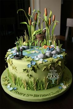 """Swamp cake - 9"""" round chocolate cake with strawberry buttercream for my friend's little boy, James, who turned 5 today. He had a reptile themed party so needed a reptile themed cake to go along with it. He was very pleased."""