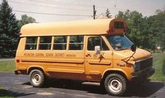 """1980's Little Yellow School Bus.  I was a census taker for the Arlington Central School District in upstate New York, and this was my first """"company car"""".    It had an automatic transmission, but no air conditioning."""