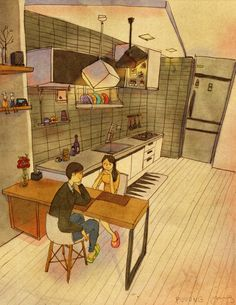 Looking at each other. Love Is series by Korean artist 퍼엉 (Puuung) Anime Couples, Cute Couples, Couples Comics, Love Actually, What Is Love, Couple Illustration, Illustration Art, Puuung Love Is, Korean Artist