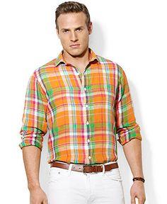 31a689bcb Polo Ralph Lauren Big and Tall Long-Sleeve Plaid Linen Shirt Men - Casual  Button-Down Shirts - Macy s