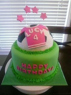 Soccer Cake idea for Gracie's 6th Birthday.