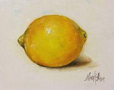 Origineel olieverfschilderij citroenen stilleven door Nina