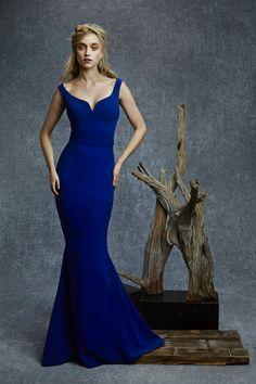 vestidos de noche azul rey                              …