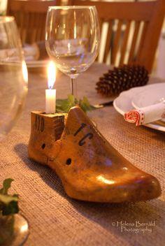 The Swenglish Home - Helena Bernald Photography - shoe last candleholder Shoe Molding, Shoe Stretcher, Curiosity Shop, Shoe Last, Shoe Tree, Decoration Table, How To Antique Wood, Vintage Shoes, Jewellery Display