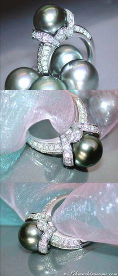 Elegant Tahitian Pearl (11-12mm) Ring with Diamonds, WG18K - Visit: schmucktraeume.com Mail: info[at]schmucktraeume.com