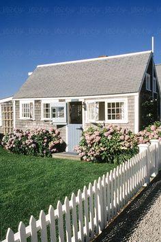 Nantucket Cottage by Raymond Forbes LLC - Cottage, Nantucket - Stocksy United Nantucket Style Homes, Nantucket Beach, Nantucket Cottage, Cape Cod Cottage, Coastal Cottage, Coastal Homes, Cottage Homes, Nantucket Decor, Nantucket Island
