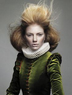 Elizabethan inspired fashion - Doublet, velvet, ruff, texture: