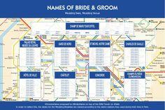 Paris Metro wedding table plan