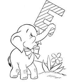 E For Baby Elephant Coloring Pages
