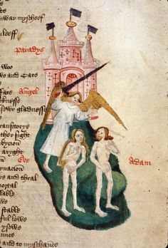 Miniature of the Explusion of Adam and Eve from Paradise, from John Lydgate's Fall of Princes, England (Bury St Edmunds?), c. 1450 - c. 1460, Harley MS 1766, f. 13r