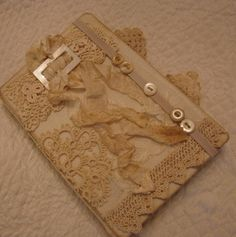 Layered Vintage Lace Journal or Album Cover With Buttons