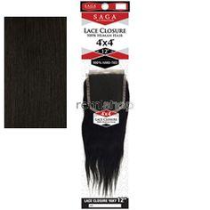 "Saga 4 x 4 Lace Closure Yaky 16"" - Color 2 - Human Hair Closure - Hand Tied Soft Lace Part"