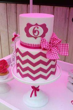 Hot Pink Chevron Birthday Cake
