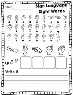 Sign Language Sight Words: Kindergarten (Journeys ed.) Help students memorize sight words, spell sight words, and learn American Sign Language! Sign Language For Toddlers, Simple Sign Language, Sign Language Chart, Sign Language Phrases, Sign Language Alphabet, Sign Language Interpreter, Learn Sign Language, American Sign Language, Sight Words