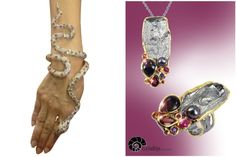 Intricate multi-gemstone snake bracelet/ring by Mahallati (left) Silver and gemstone ring and pendant by Goldlip.