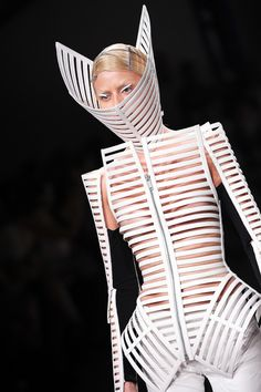 A model walks the runway during the Gareth Pugh Ready to Wear Spring / Summer 2012 show during Paris Fashion Week at Garage Turenne on Sep. 28, 2011 in Paris, France. (Dominique Charriau, WireImage)