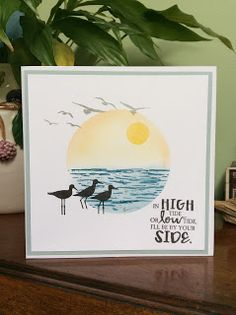 "By Jane Allmark. She used stamps from ""High Tide"" by Stampin' Up. I think I'll try something similar using the sandpipers from ""Wetlands,"" also by Stampin' Up. Pretty Cards, Cute Cards, High Tide Stampin Up, Nautical Cards, Beach Cards, Stamping Up Cards, Birthday Cards For Men, Watercolor Cards, Sympathy Cards"