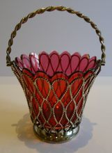 Stunning Antique English Silver Plate & Cranberry Glass Basket - 1881 from Puckering's on Ruby Lane