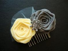 For the bridesmaids maybe? Gray Yellow Rose Comb Hair Clip Pin Headband Bride Bridal Silk Bud Wedding Shower Rehearsal Dinner Invitation Flower Lemon Marigold Silver. $30.00, via Etsy. by Iris108