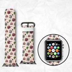 Handmade Apple Watch Strap 38/42mm - Cartoon Flowers (BBSW039) by BeeBeeStyle on Etsy