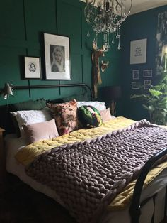 Dark and Moody Green Bedroom with DIY Panelling Bedroom My Bedroom Renovation Green Bedroom Walls, Green Rooms, Green Bedroom Colors, Colourful Bedroom, Green And White Bedroom, Green Master Bedroom, Colorful Bedding, Bedroom Black, Yellow Walls