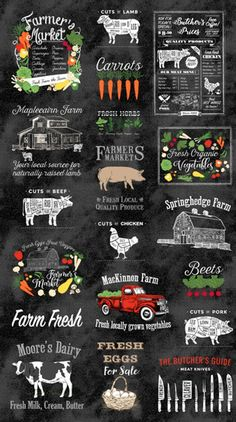 Farm to Table Organic Vegetables & Grass Fed Butcher Block Cotton Fabric Panel by Northcott! Lamb Cuts, Fabric Pictures, Fresh Milk, Organic Vegetables, Fabric Panels, Fresh Herbs, Farmers Market, Cotton Fabric, Woven Fabric