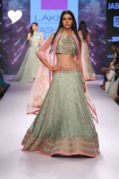 Light Lehengas - Dull Grey Lehenga with Gold Stripes | WedMeGood |