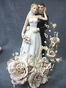 This stunning recreation vintage cake topper features a sprig of silk roses accented with faux pearls and crystals. This elegant fine porcelain wedding couple features the bride carrying a delicate handmade calla lily bouquet. Wedding Cake Fresh Flowers, Cool Wedding Cakes, Elegant Wedding Cakes, Rose Wedding, Trendy Wedding, Dream Wedding, Wedding Ideas, Wedding Vows, Wedding Dresses