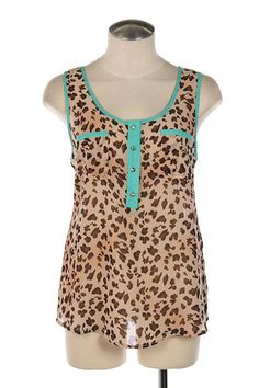 - Leopard Print Chiffon Tulip Blouse- Solid Trim- Animal Print- Sleeveless- Tulip Style BackMaterial:- 100% Polyester