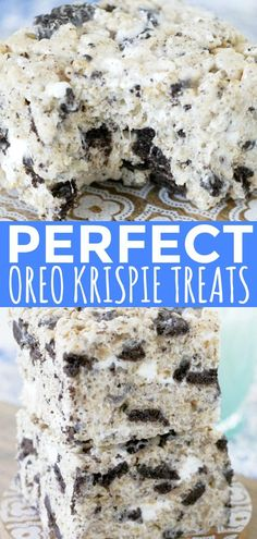 Oreo Krispies - Foodtastic Mom This is the classic Krispie treat recipe on steroids with the addition of crushed OREO cookies. Thick, chewy and completely irresistible. Dessert Oreo, Köstliche Desserts, Dessert Bars, Plated Desserts, Biscuit Oreo, Reis Krispies, Rice Krispy Treats Recipe, Oreo Rice Krispie Treats, Recipe Treats