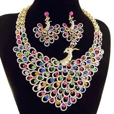 bridal-jewelry-set-luxurious-necklace-peacock-pattern-Neoglory-wedding-jewelry-set-classic-18k-GP-multi-color