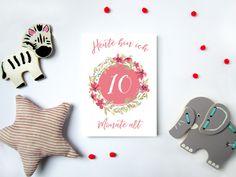Baby- & Geburtskarten - Baby Meilensteinkarten. Geschenk zur Geburt, Taufe - ein Designerstück von ThePrettyPrintsShop bei DaWanda