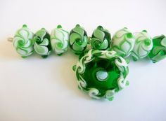 lampwork glass bead set in Emerald green and by ChrysArtGlass