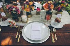 Beautiful place settings! Country Brunch Wedding at Estancia Culinaria