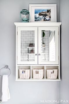 A cabinet like this over the toilet, and a mirror over the sink (+ can add custom white shelves) may make space feel larger.