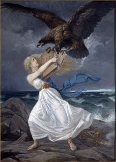 "217631 / Art Edvard Isto, or Eetu Isto - ATTACK 1899 , Russian eagle attacking the Finnish Maiden , Finland Finlande "" Helsinki, Library Of Alexandria, Propaganda Art, Dark Skies, Old Paintings, Beach Scenes, Romanticism, National Museum, Musée National"