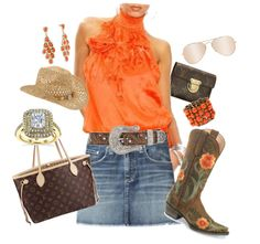 cowgirl chic!, created by bentoncolorado on Polyvore --- (great to wear to an OSU Cowboys B-ball game. dm)   :)