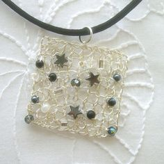 wire crochet jewelry | hand knit square with hematite stars. Love! | Craft show inspirations