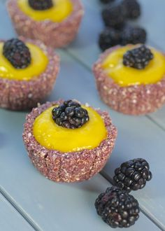 Blackberry Cupcakes with Mango Filling | raw, vegan, low-fat