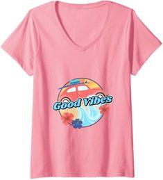 Womens Good Vibes - Vintage Retro 80's Design - Summer Beach Tees V-Neck T-Shirt: Amazon.co.uk: Clothing 80s Design, Cool Tees, Good Vibes, Summer Beach, V Neck T Shirt, Retro Vintage, Amazon, Clothing, Tops