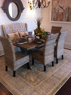 A One Of Kind Vegetable Dyed Capel Hand Knot Rug Was Used In The Casual Dining Room Southern Living All American Cottage