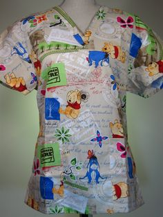 #caringplus scrub top - Winnie The Pooh Hundred Acre Wood Beige - CaringPlus scrubs and uniforms - workwear clothing for nurses, caregivers and other healthcare professionals. Perfect apparel for doctor's, dental and optician offices, nursing homes, rehab centers, vet clinics, animal hospitals, or medical labs.
