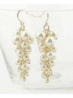 Grape Faux Pearl Earrings
