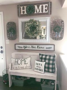 Only bench and pillows, mirrow and the home sign.