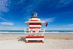 Red and white striped lifeguard hut stylized as lighthouse in South Beach, Miami, Florida, USA Miami Florida, Miami Beach, Beach Lifeguard, Personalized Photo Gifts, Create Photo, Photo Center, Costco, South Beach, Photo Book
