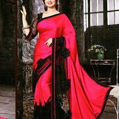 Magenta Satin Saree for a stunning look this evening !!