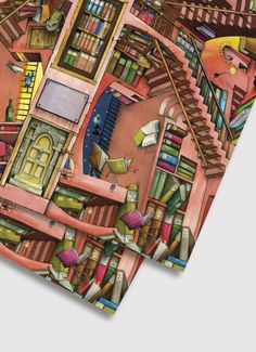Colin Thompson Wrapping Paper - The Library