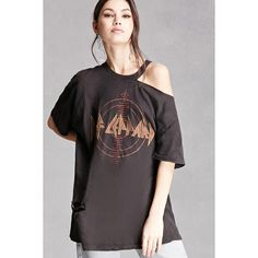 Forever21 Repurposed Def Leppard Band Tee (620 ARS) ❤ liked on Polyvore featuring tops, t-shirts, black, destroyed tee, ripped tee, ripped t shirt, vintage distressed t shirts and destroyed t shirt